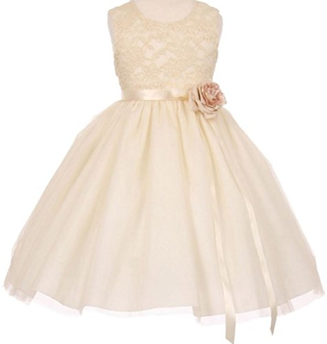 Little Girls Elegant Contrast 3D Lace Tulle Flowers Girls Dresses Ivory Size 6