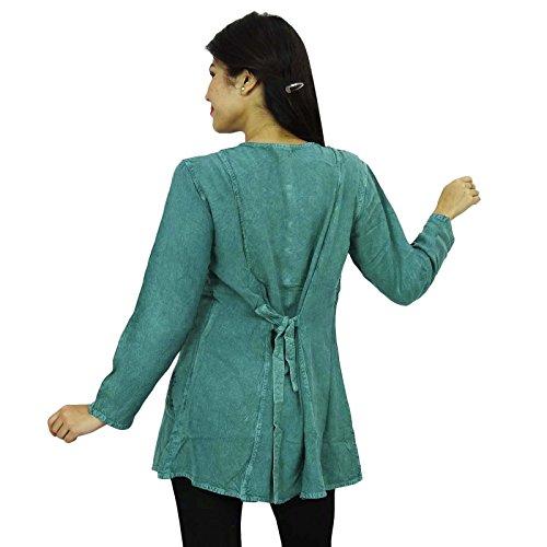 Mujeres del verano de Boho Top manga larga Top escarpado Casual Túnica Vestido de tirantes verde grisáceo