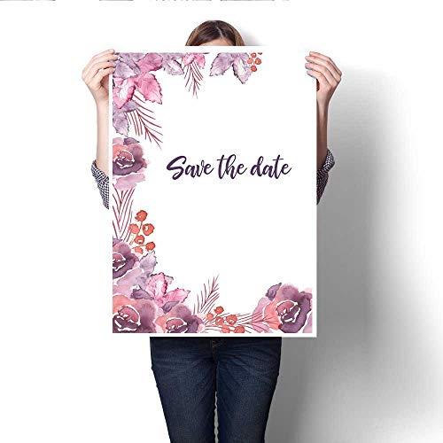 "Anshesix Canvas Wall Art Vertical Invitation Template Design Decorated with Trending Violet Floral Elements Art Stickers 20""x28"""