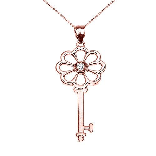 Collier Femme Pendentif 10 Ct Or Rose Solitaire Oxyde De Zirconium Fleur Clé (Livré avec une 45cm Chaîne)