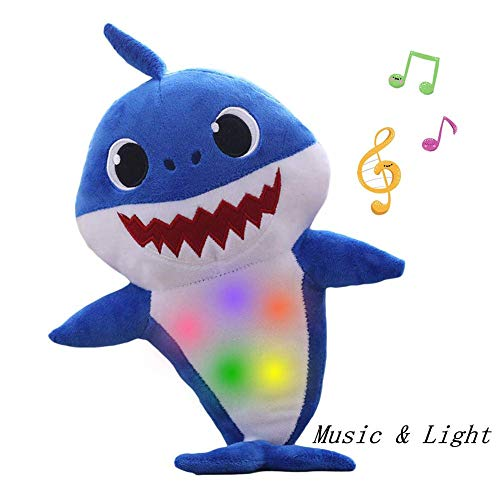 - Grospe Baby Singing Shark Plush Toy,Music Sound Adorable Cartoon Shark Soft Toys ,Baby Singing Interactive Plush Toy for English Song Children's Gift (Blue)