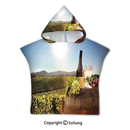 (Wine Toddler Hooded Beach Bath Towel,White Wine with Barrel on Famous Vineyard in Chianti Tuscany Agriculture Decorative,1-7 Years Old Microfiber Bath Robe,Green Brown Light Blue,for Beach Pool Shower)