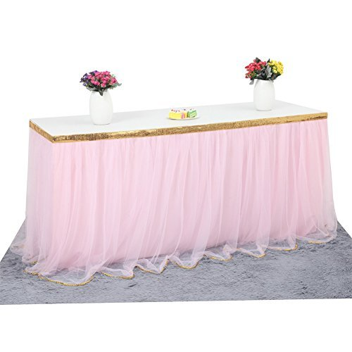 Haperlare 9ft Tablecloth Pink Tulle Table Skirt Tulle Pink Tablecloth Tutu Tablecloth Skirting with Gold Brim for Wedding Party Baby Shower Christmas Birthday Banquet Table Decorations,3 -