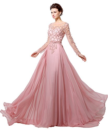 Belle House Women's Long Sleeve Formal Evening Gown Beaded Prom Dress Pink