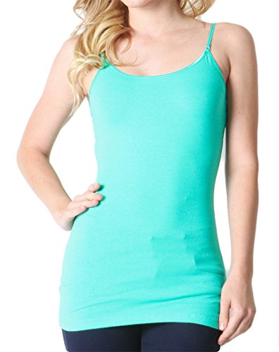 The Classic Womens Ladies Adjustable Spaghettie Straps Basic Long Line Cami Tank Tops in Dusty Mint - Large (Camisoles Mint)