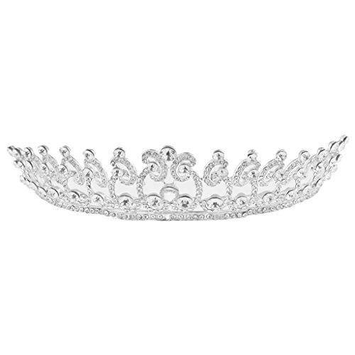 D DOLITY Diadema Nupcial del Pelo de Corona de Princesa, Fantástico Accesorio del Banqueta de Bodas - Plata, 15 x 12 x 5.5cm