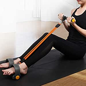 Sit-Ups Elastic Rope Expander Elastic Pull Rope Portable Sit-ups Fitness Equipment for Belly Abdomen Exercise (Orange) QDDSP