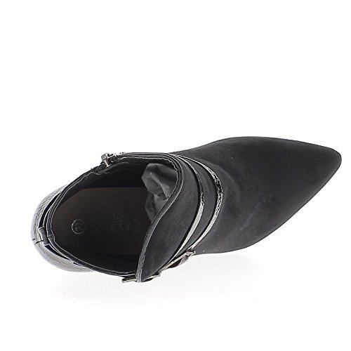 Bottines noires à talon de 9cm pointues bi matière aspect daim et croco