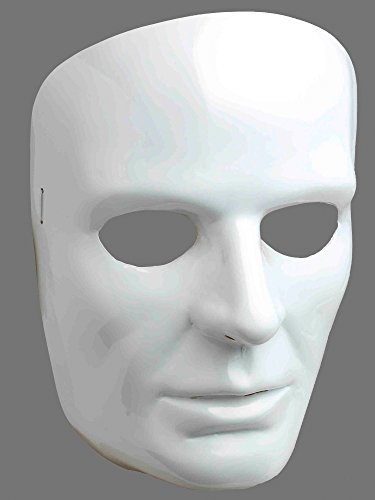 Forum Novelties 67838 Men's White Full Face Mask, One Size, Pack of 1 ()