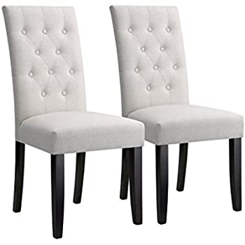 langria high back dining chairs button tufted modern faux linen upholstered with diamond stitching arched