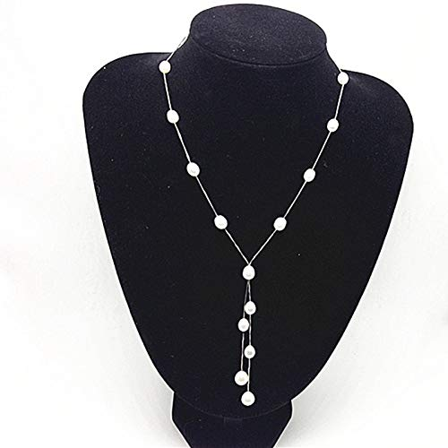 Davitu Fashion Natural Woman Pearl Pendant Jewelry,100% Freshwater 6-7mm Rice Long Pearl Necklace with S925 Silver - (Main Stone Color: White)