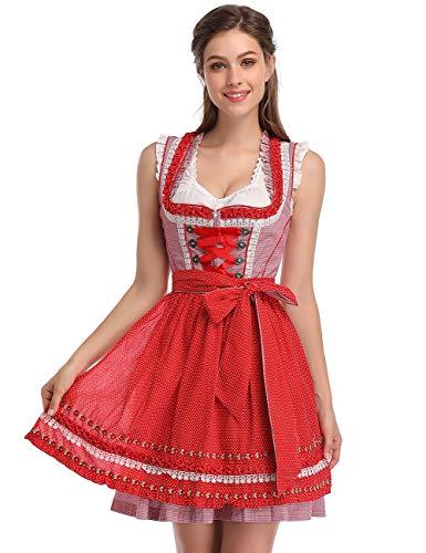 GloryStar Women's Oktoberfest Costume Beer Babe Polka Dot Oktoberfest Dress(S, Pink/Red) ()