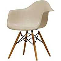 Baxton Studio Pascal Plastic Mid-Century Modern Shell Chair, Beige, Set of 2