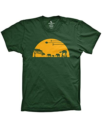 (Guerrilla Tees at-at Movie Shirts Funny Tshirts Graphic Space tee, Forest Green, X-Large)