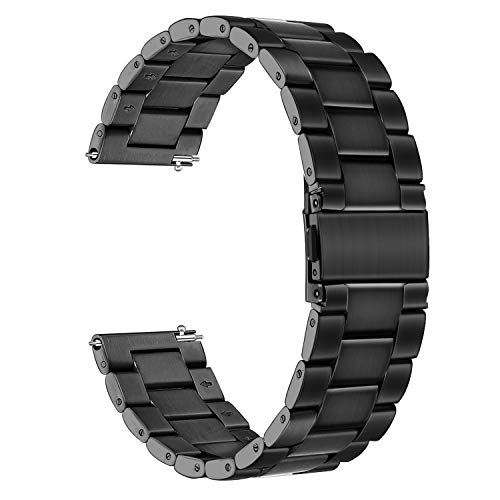 for Samsung Galaxy Watch 46mm / Gear S3 Bands,TRUMiRR 22mm Solid Stainless Steel Metal Watch Band Quick Release Wristband Replacement Strap for Samsung Gear S3 Classic Frontier, Gear 2 Neo - Wrist Watch Steel Stainless Bezel