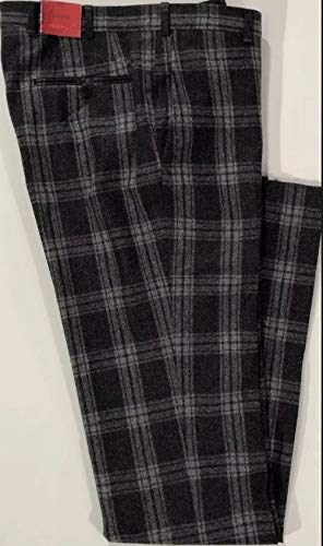 Isaia Men's Charcoal Grey Check Felted Wool Skinny Casual Pants 32/38