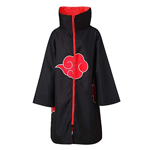 Ninja Halloween Costume Diy (Partyever Unisex Akatsuki Organization Members Cosplay Cloak Halloween Cosplay Costume Uniform Ninja Robe with Headband (XX-Large, Stand Collar)