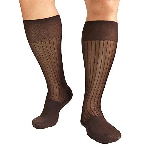 Mr.Babuu 5Pairs Pack Men's Fashion Mid Calf Striped Nylon Sheer Silk Dress Socks (Coffee)