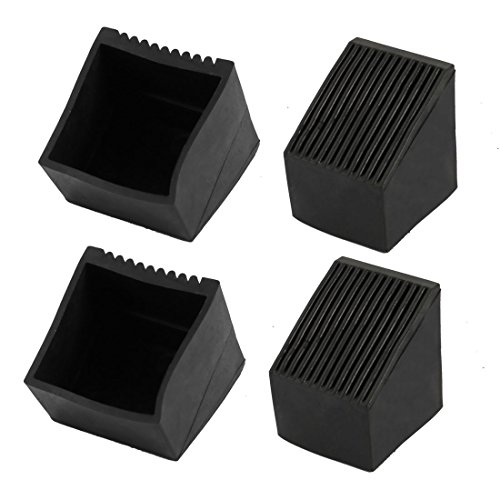 uxcell 4pcs 50x50mm Size Black PVC Rubber Square Cabinet Leg Insert Cover Protector by uxcell