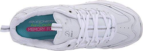 Skechers Sport Women's D'Lites Memory Foam Lace-up Sneaker,White Silver,8 M US