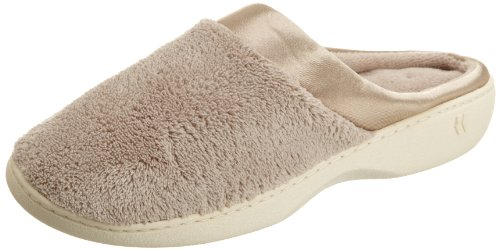 Isotoner Women's Microterry PillowStep Satin Cuff Clog Slippers, Taupe, 9.5-10 B(M) US