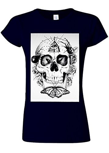 Butterfly Skull Third Eye illuminati Novelty Navy Women T Shirt Top-S