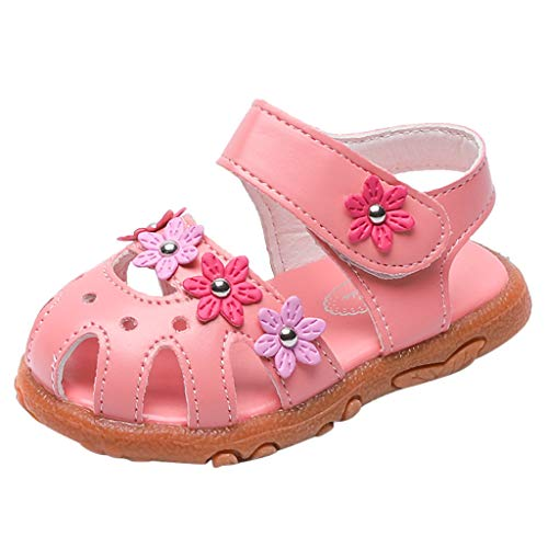 Tantisy ♣↭♣ Girl's Leather Open Toe Sandals Sweet Cute Flower Flat Dress Sandals Baby Comfy Walking Shoes for Little Kids Pink