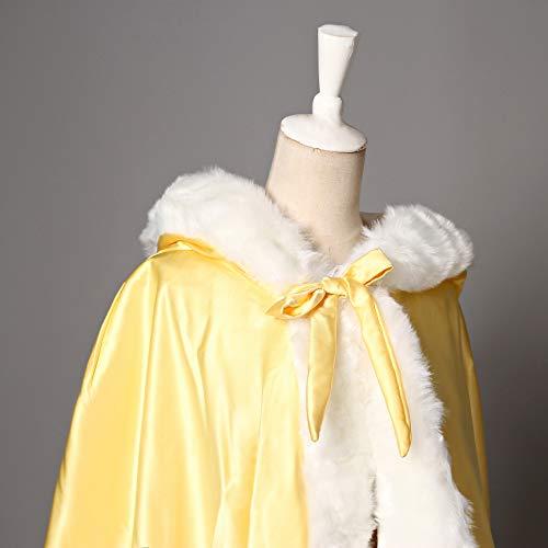 Capuchon Capuche Longue Yellow Femme Cape de Marie Chaude Fourrure Mariage de Manteau BEAUTELICATE 8RaTqW