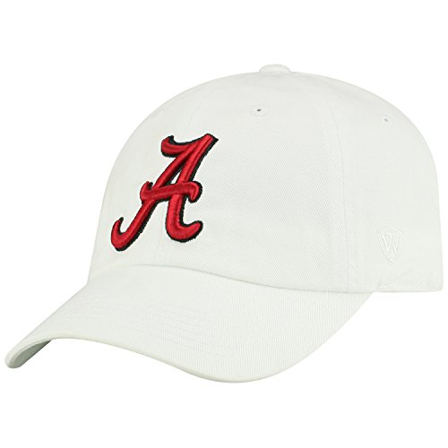 Top of the World NCAA Mens College Town Crew Adjustable Cotton Crew Hat Cap (Alabama Crimson Tide-White, (Ncaa College Hats)