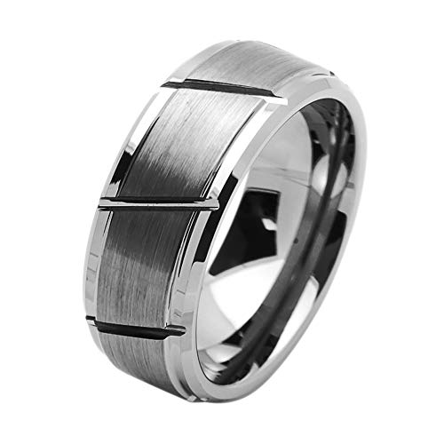 Diagonal Accent - Double Accent 9MM Comfort Fit Tungsten Carbide Wedding Band Diagonal Grooves Brushed Center Tungsten Ring (5 to 15), 11.5