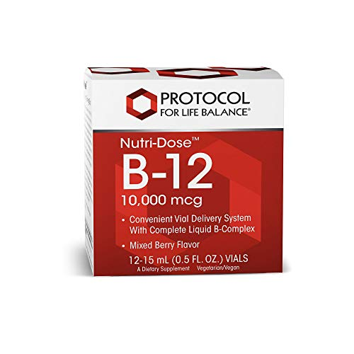 Protocol For Life Balance – Nutri-Dose B-12 10,000 mcg – Convenient Vial Delivery System with Complete Liquid B-Complex, Supports Nervous/Digestive System – Mixed Berry Flavor – 12 : 15 mL Vials
