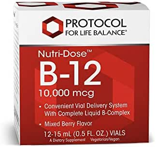 Protocol For Life Balance - Nutri-Dose B-12 10,000 mcg - Convenient Vial Delivery System with Complete Liquid B-Complex, Supports Nervous/Digestive System - Mixed Berry Flavor - 12 : 15 mL Vials
