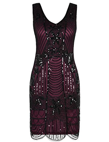 Flapper Cocktail (PrettyGuide Women's 1920s Gatsby Sequin Art Deco Scalloped Hem Cocktail Flapper Dress M Burgundy)