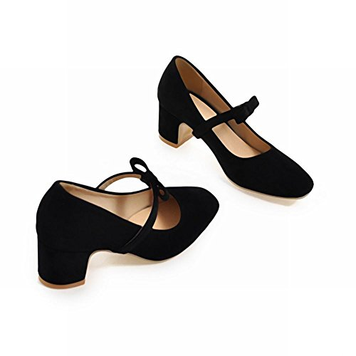 Carolbar Women's Fashion Charm Mid Heel Bow Square Toe Court Shoes Black KdQfiC1