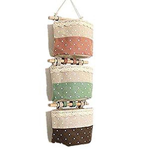 FANTASIEN 3 Pack linen Hanging Storage Basket Organizer, Toy Storage Cage,Wall Door Closet Hanging Storage Bag Organizer,Wall Mount/Over The Door Magazine Storage Pockets