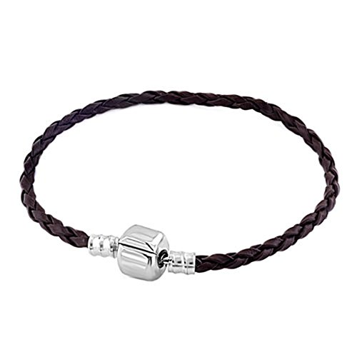Heart of Charms Braided Handmade Leather Bracelets 3.5mm Wristband Men Women for Beads Charms (Brown)