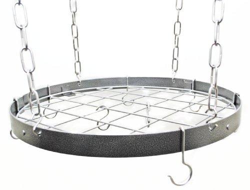 Hammered Steel Round Pot Rack W/ Grid (Round Wine Rack)