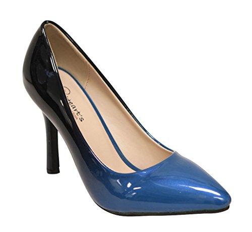 Heart's Zara-02 Women's point toe patent gradient color high heel stiletto pumps Teal - Dark Blue Gradient