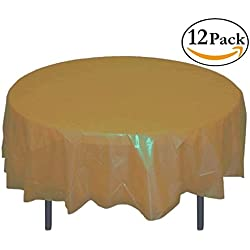 12-Pack Premium Plastic Tablecloth 84in. Round Table Cover - Gold