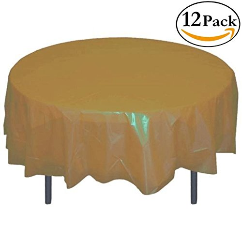12-Pack Premium Plastic Tablecloth 84in. Round Table Cover - - Of Gold Round