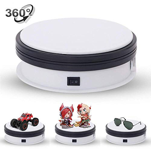 Yuanj Motorized Turntable Display, 360 Degree Electric Rotating Display Turntable for Display Jewelry, Watch, Digital Product, Shampoo, Glass, Bag, Models, Diecast, Jewelry and Collectibles