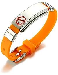 Free Engraving-Medical Alert ID Silicone Stainless Steel Adjustable Bracelet,Fits Adults & Kids,Orange
