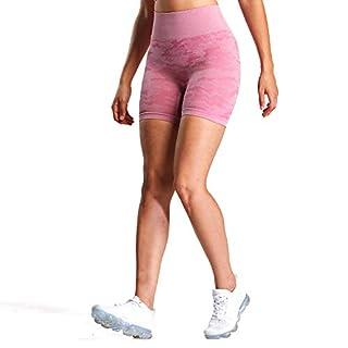 Aoxjox Women's High Waisted Tummy Control Workout Yoga Gym Seamless Camo Shorts (Camo/Dusky Pink, Small)