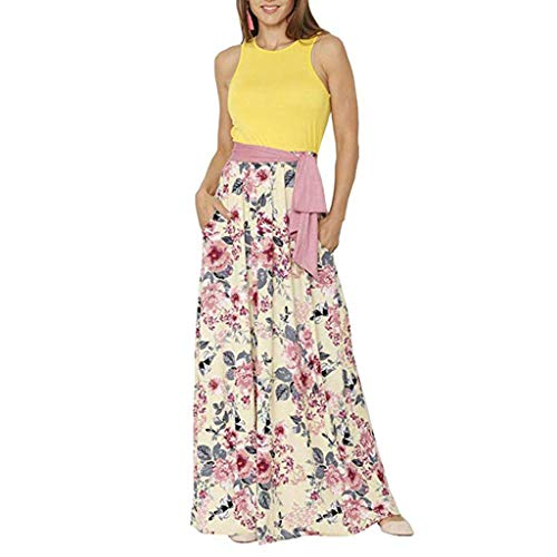 Womens Sleeveless Stitching Printed Long Dresses Summer Loose Floral Print Tank Top Maxi Dresses for Women Yellow