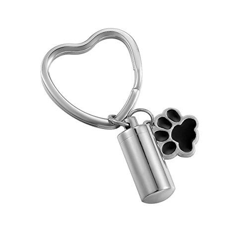 (HooAMI Puppy Dog Paw Cylinder Pet Cremation Urn Keychain Keepsake Memorial Ashes Stainless Steel Heart Keyring)