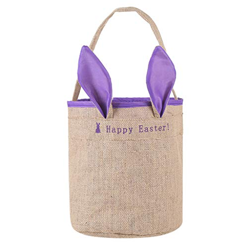 Nmch_Easter Decoration Lovely Easter Egg Basket Holiday Rabbit Bunny Printed Canvas Bag Gift Carry Eggs Candy Bag Nmch(Purple,B)