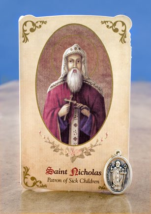 St Nicholas Healing Holy Card with Medal for Sick Children