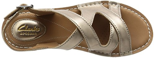 Clarks Tustin Spears - Sandalias de talón abierto para mujeres Gris (Metallic Leather)