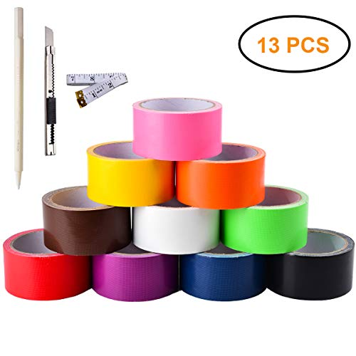 Gesoon Multi Colored Duct Tapes 12 Yards x 2 Inch Rolls, 10 Assorted Colors: Black Orange Purple red White Pink Green Blue Yellow Brown - Great for Girls & Boys Kids DIY Arts & Crafts Kit Home School