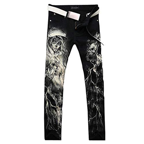 Jeans Fit Stretch Uomini Vintage Pantaloni Slim Dei Battercake Causali Nero Comodo Casual Classici Moda Denim Uomo qTx41A1